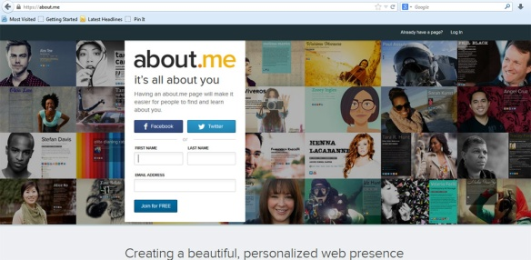 about.me front page