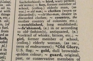 old fashioned dictionary page