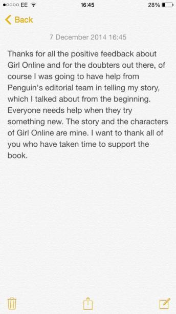 Zoella statement ghostwritten book