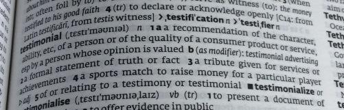 testimonial, dictionary