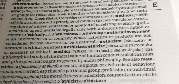 ethics, dictionary, definition