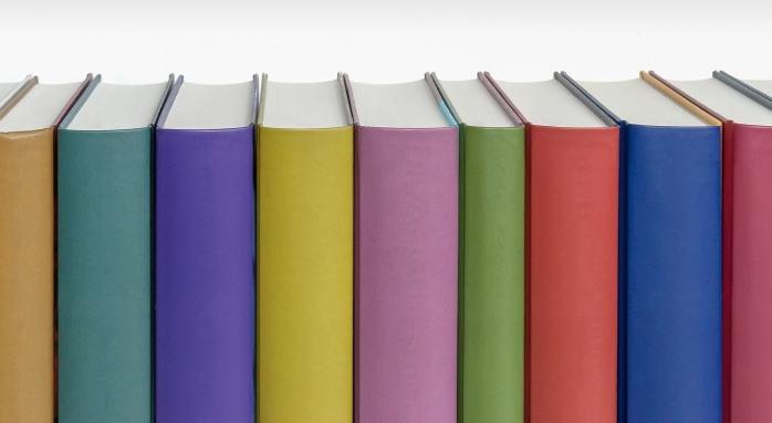 blank books on a shelf