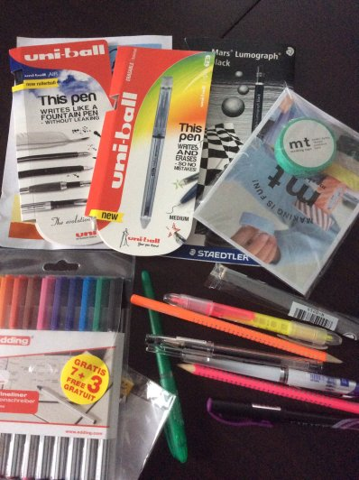 pens, pencils, washi tape, goody bag