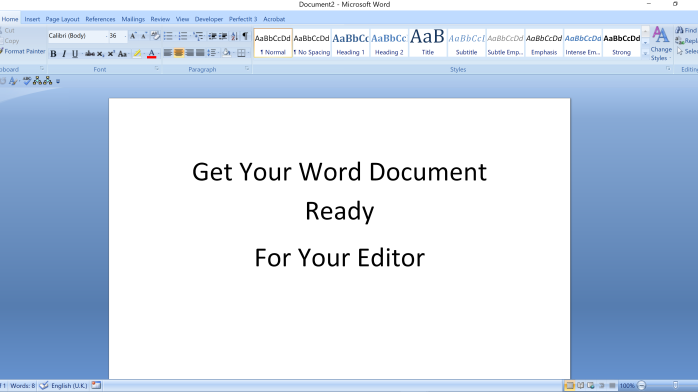 Get our Word document ready for your editor