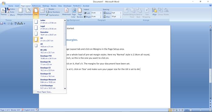 margins tutorial paper size