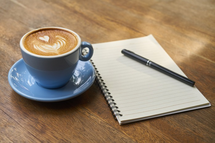 coffee, notebook, notepad, writing