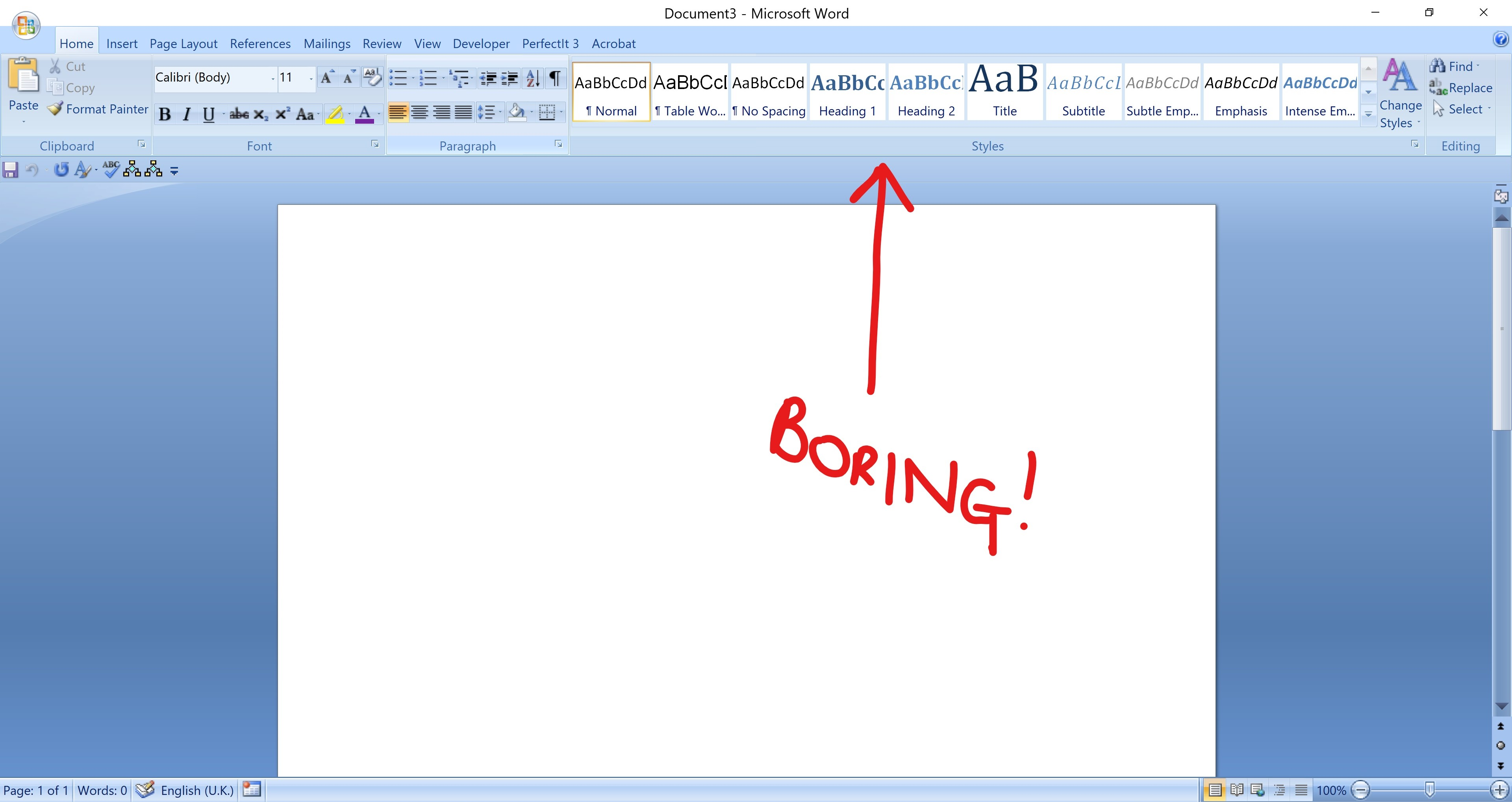styles in word boring screenshot