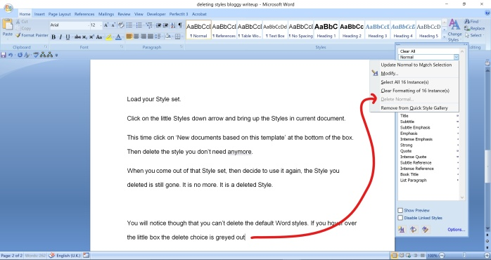 Deleting Styles in Word 7