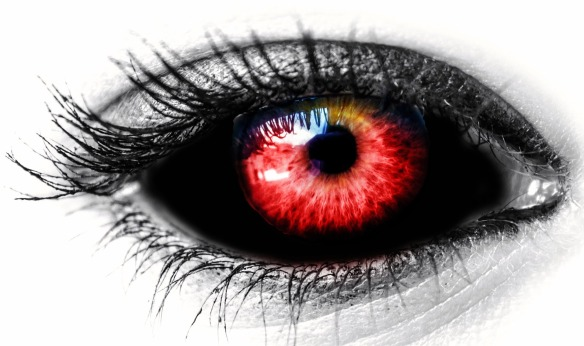 Eye red and black