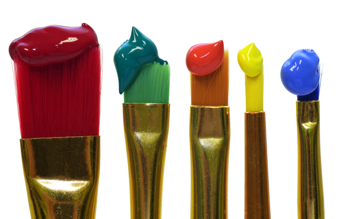 coloured paint on brushes