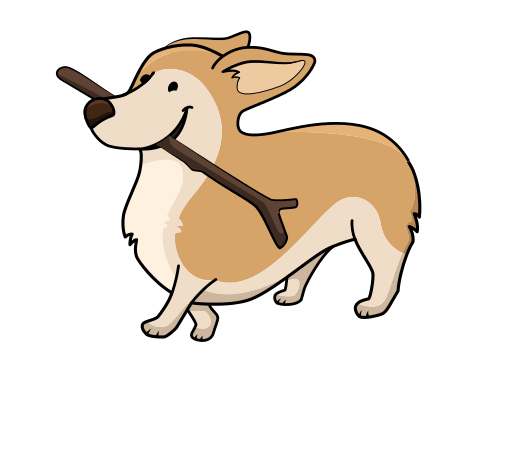 corgi with a stick
