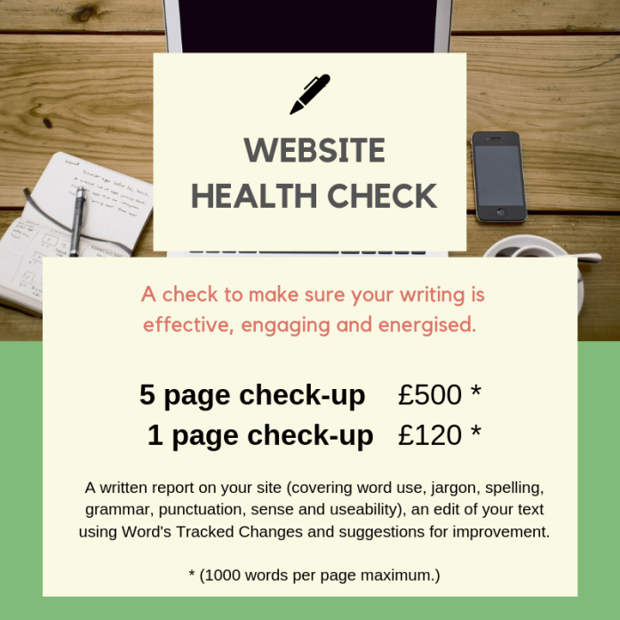 Website health check, edit, proofread, engaging web writing