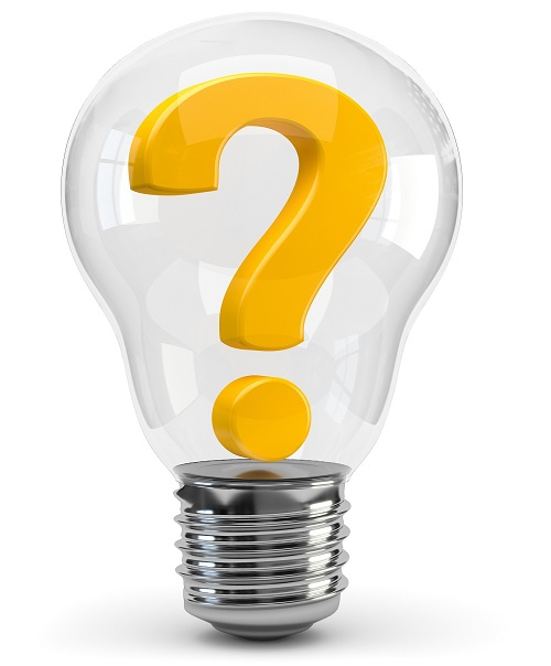 question mark in a light bulb